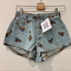 Somedays lovin printed button jean shorts